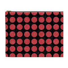 Circles1 Black Marble & Red Colored Pencil (r) Cosmetic Bag (xl) by trendistuff