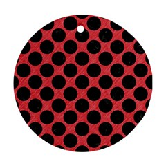 Circles2 Black Marble & Red Colored Pencil Round Ornament (two Sides) by trendistuff