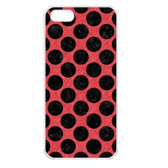 Circles2 Black Marble & Red Colored Pencil Apple Iphone 5 Seamless Case (white) by trendistuff
