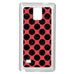 Circles2 Black Marble & Red Colored Pencil Samsung Galaxy Note 4 Case (white) by trendistuff