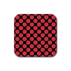 Circles2 Black Marble & Red Colored Pencil (r) Rubber Square Coaster (4 Pack)  by trendistuff