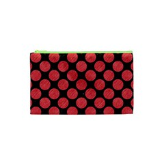Circles2 Black Marble & Red Colored Pencil (r) Cosmetic Bag (xs) by trendistuff