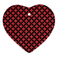 Circles3 Black Marble & Red Colored Pencil Ornament (heart) by trendistuff