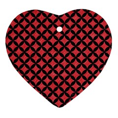 Circles3 Black Marble & Red Colored Pencil Heart Ornament (two Sides) by trendistuff
