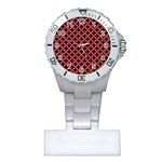 CIRCLES3 BLACK MARBLE & RED COLORED PENCIL (R) Plastic Nurses Watch Front