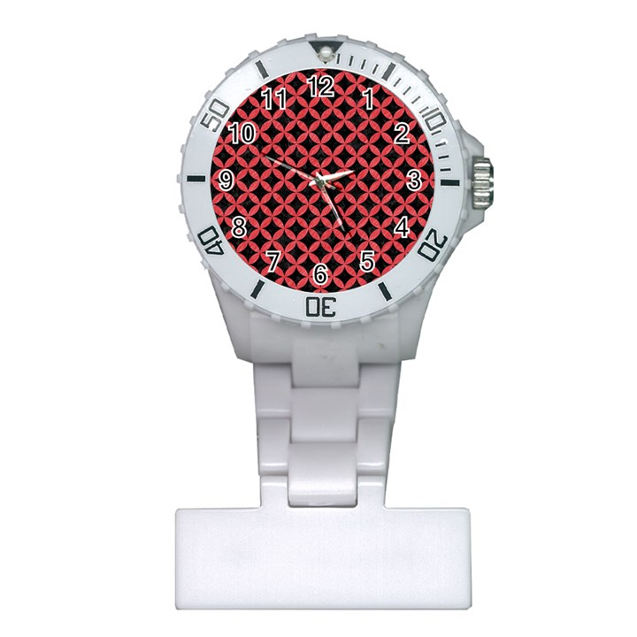 CIRCLES3 BLACK MARBLE & RED COLORED PENCIL (R) Plastic Nurses Watch