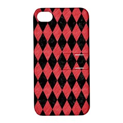 Diamond1 Black Marble & Red Colored Pencil Apple Iphone 4/4s Hardshell Case With Stand by trendistuff