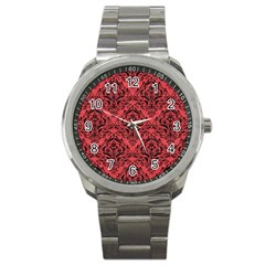 Damask1 Black Marble & Red Colored Pencil Sport Metal Watch by trendistuff