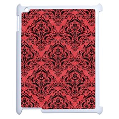 Damask1 Black Marble & Red Colored Pencil Apple Ipad 2 Case (white) by trendistuff