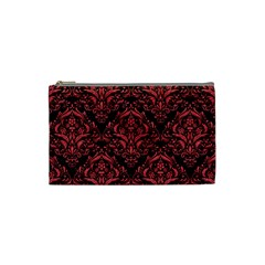 Damask1 Black Marble & Red Colored Pencil (r) Cosmetic Bag (small)  by trendistuff