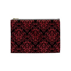 Damask1 Black Marble & Red Colored Pencil (r) Cosmetic Bag (medium)  by trendistuff