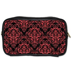 Damask1 Black Marble & Red Colored Pencil (r) Toiletries Bags 2 Side by trendistuff