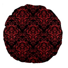 Damask1 Black Marble & Red Colored Pencil (r) Large 18  Premium Round Cushions by trendistuff