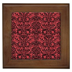 Damask2 Black Marble & Red Colored Pencil Framed Tiles by trendistuff
