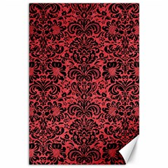 Damask2 Black Marble & Red Colored Pencil Canvas 12  X 18   by trendistuff