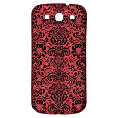 Damask2 Black Marble & Red Colored Pencil Samsung Galaxy S3 S Iii Classic Hardshell Back Case by trendistuff