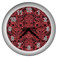 Damask2 Black Marble & Red Colored Pencil (r) Wall Clocks (silver)  by trendistuff