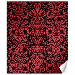 Damask2 Black Marble & Red Colored Pencil (r) Canvas 20  X 24   by trendistuff