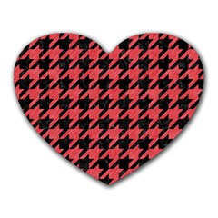 Houndstooth1 Black Marble & Red Colored Pencil Heart Mousepads by trendistuff