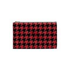 Houndstooth1 Black Marble & Red Colored Pencil Cosmetic Bag (small)  by trendistuff