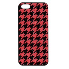 Houndstooth1 Black Marble & Red Colored Pencil Apple Iphone 5 Seamless Case (black) by trendistuff