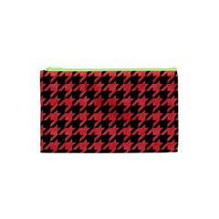 Houndstooth1 Black Marble & Red Colored Pencil Cosmetic Bag (xs) by trendistuff