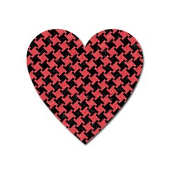 Houndstooth2 Black Marble & Red Colored Pencil Heart Magnet by trendistuff