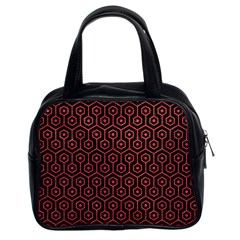 Hexagon1 Black Marble & Red Colored Pencil (r) Classic Handbags (2 Sides) by trendistuff