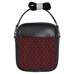 Hexagon1 Black Marble & Red Colored Pencil (r) Girls Sling Bags by trendistuff