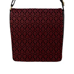 Hexagon1 Black Marble & Red Colored Pencil (r) Flap Messenger Bag (l)  by trendistuff
