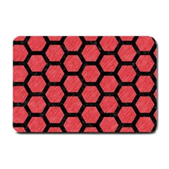 Hexagon2 Black Marble & Red Colored Pencil Small Doormat  by trendistuff