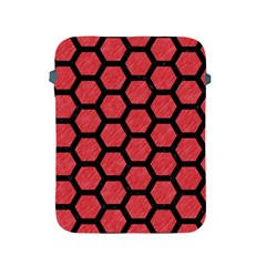 Hexagon2 Black Marble & Red Colored Pencil Apple Ipad 2/3/4 Protective Soft Cases by trendistuff