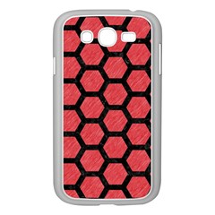 Hexagon2 Black Marble & Red Colored Pencil Samsung Galaxy Grand Duos I9082 Case (white) by trendistuff
