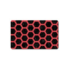 Hexagon2 Black Marble & Red Colored Pencil (r) Magnet (name Card) by trendistuff