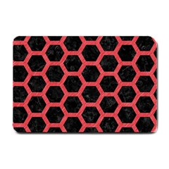 Hexagon2 Black Marble & Red Colored Pencil (r) Small Doormat  by trendistuff