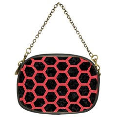 Hexagon2 Black Marble & Red Colored Pencil (r) Chain Purses (one Side)  by trendistuff