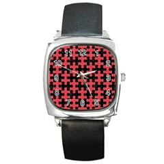 Puzzle1 Black Marble & Red Colored Pencil Square Metal Watch by trendistuff