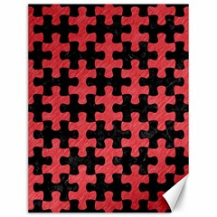 Puzzle1 Black Marble & Red Colored Pencil Canvas 12  X 16   by trendistuff