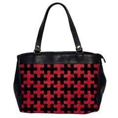 Puzzle1 Black Marble & Red Colored Pencil Office Handbags by trendistuff