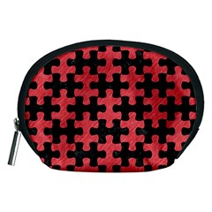 Puzzle1 Black Marble & Red Colored Pencil Accessory Pouches (medium)  by trendistuff