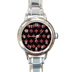 Royal1 Black Marble & Red Colored Pencil Round Italian Charm Watch by trendistuff