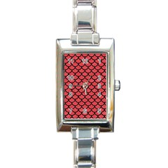 Scales1 Black Marble & Red Colored Pencil Rectangle Italian Charm Watch by trendistuff