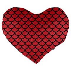 Scales1 Black Marble & Red Colored Pencil Large 19  Premium Flano Heart Shape Cushions