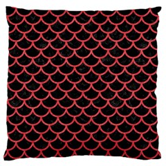 Scales1 Black Marble & Red Colored Pencil (r) Large Cushion Case (one Side) by trendistuff