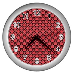 Scales2 Black Marble & Red Colored Pencil Wall Clocks (silver)  by trendistuff