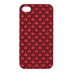 Scales2 Black Marble & Red Colored Pencil Apple Iphone 4/4s Premium Hardshell Case by trendistuff
