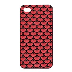Scales3 Black Marble & Red Colored Pencil Apple Iphone 4/4s Seamless Case (black) by trendistuff