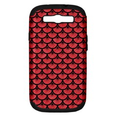 Scales3 Black Marble & Red Colored Pencil Samsung Galaxy S Iii Hardshell Case (pc+silicone) by trendistuff