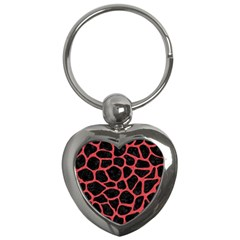 Skin1 Black Marble & Red Colored Pencil Key Chains (heart)  by trendistuff