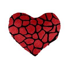 Skin1 Black Marble & Red Colored Pencil (r) Standard 16  Premium Heart Shape Cushions by trendistuff
